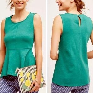 Deletta anthropologie green sleeveless peplum top